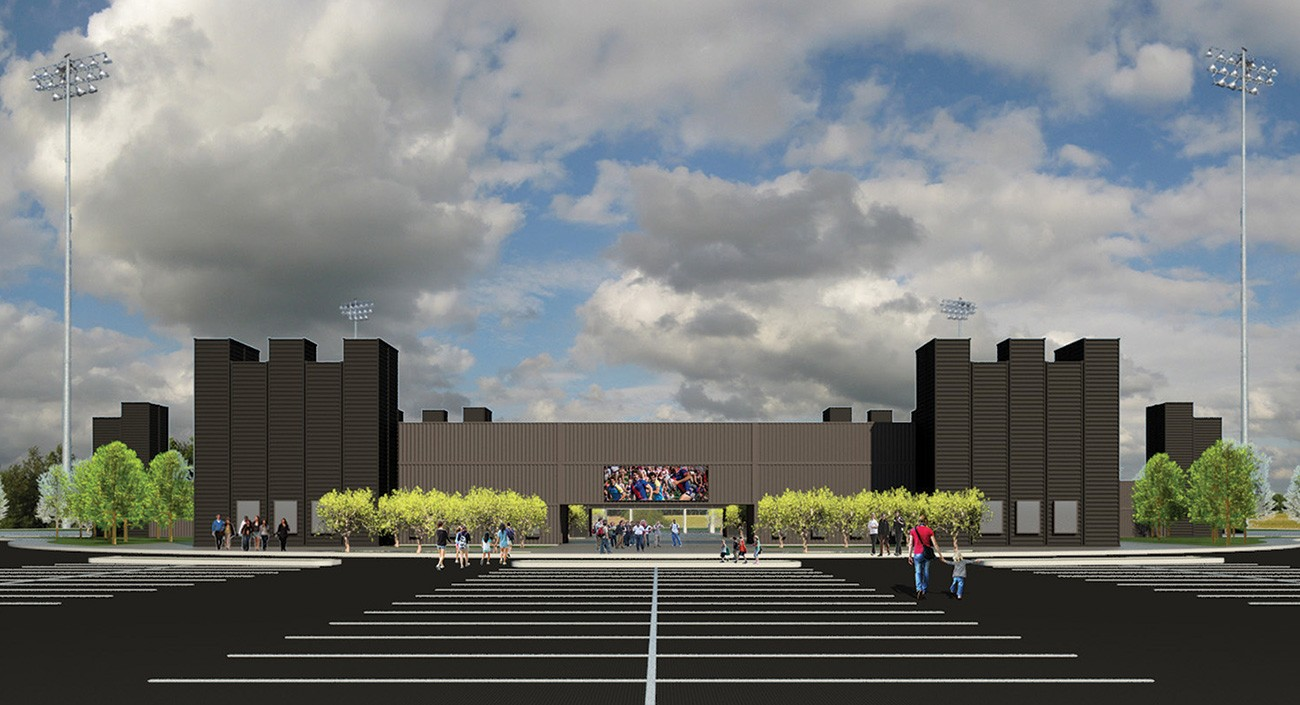 sketch front of fortress obetz stadium