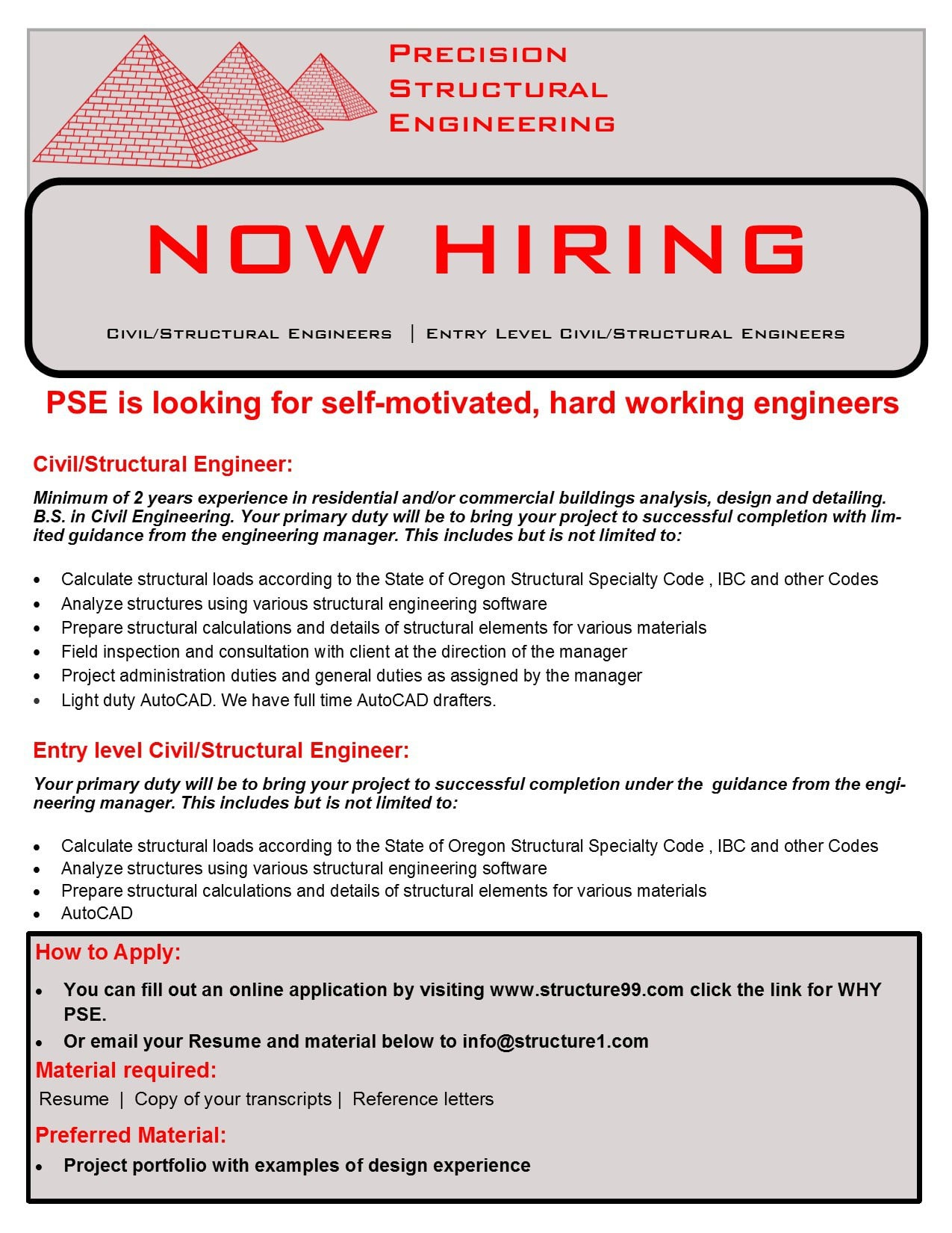 Structural Engineering Position Available   Precision
