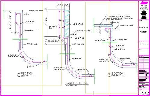 Shane maynard pool precision structural engineering for Pool design drawings